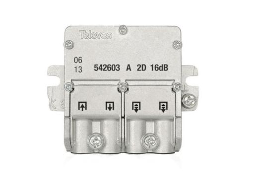 DERIVADOR INTERIOR 2 SALIDAS 16DB CONECTOR F 5/2400MHZ TELEVES 542602