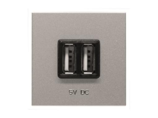 TOMA CARGADOR USB 2 MÓDULOS 2*750MA/5V PLATA.