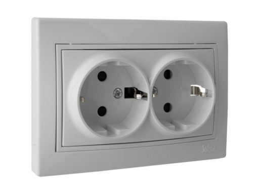 ENCHUFE DOBLE 2P+T OBTURADOR 16A 250V 154X81 BLANCO