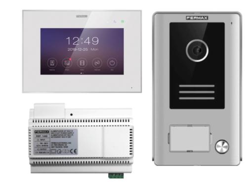 """Kit videoportero Fermax WAY-FI 1431 con desvío de llamadas a móviles y pantalla IPS táctil capacitiva de 7"""" a color."""
