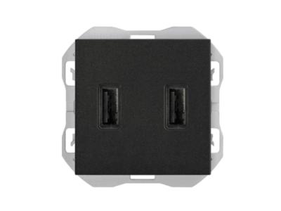 CARGADOR USB DOBLE A+A SIMON 270 2,1A NEGRO MATE