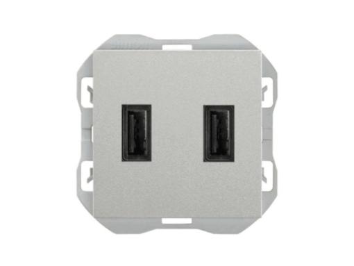 CARGADOR USB DOBLE A+A SIMON 270 3,1A SMARTCHARGE ALUMINIO