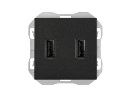 CARGADOR USB DOBLE A+A SIMON 270 3,1A SMARTCHARGE NEGRO MATE