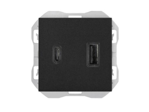 CARGADOR USB DOBLE A+C SIMON 270 3,1A QUICKCHARGE NEGRO MATE