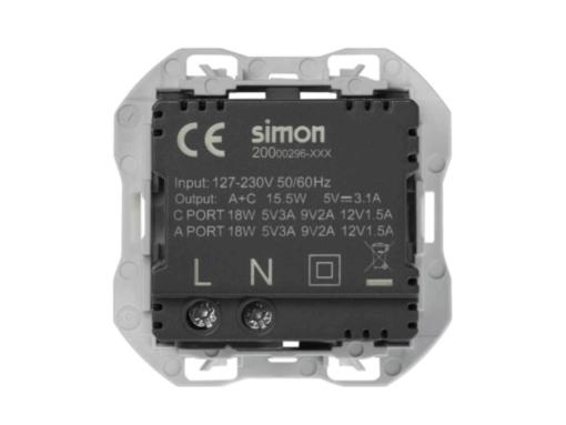 CARGADOR USB DOBLE A+C SIMON 270 3,1A QUICKCHARGE ALUMINIO